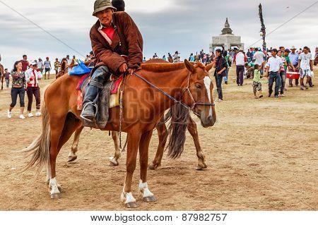 Horseback Spectator, Nadaam Horse Race, Mongolia