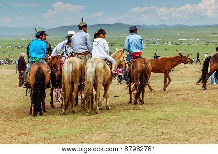Horseback Spectators In Traditional Deel, Nadaam Horse Race, Mongolia