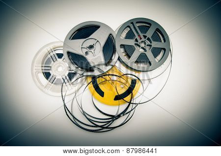 Heap Of Super 8 Mm Movie Reels, Old Condition Vintage Effect