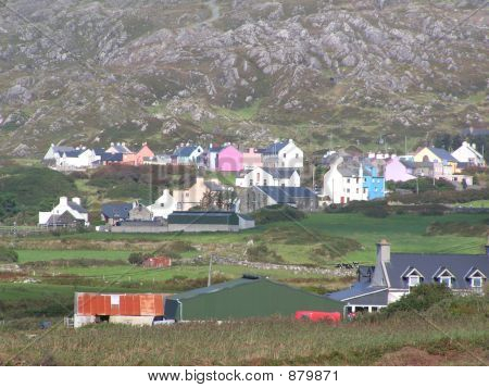 Colourful Irish  Allihiesvillage By The Mountains