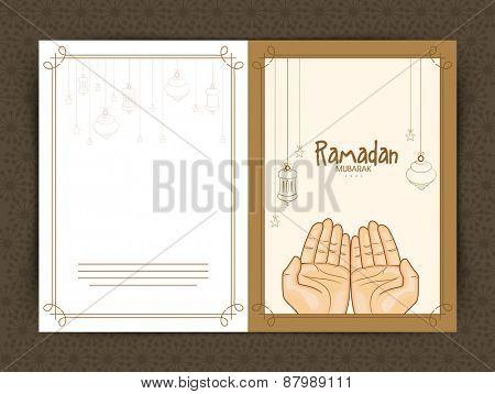 Hands praying Namaz (Muslim's Prayer), Elegant greeting card design for Islamic holy month of prayers, Ramadan Kareem celebrations.