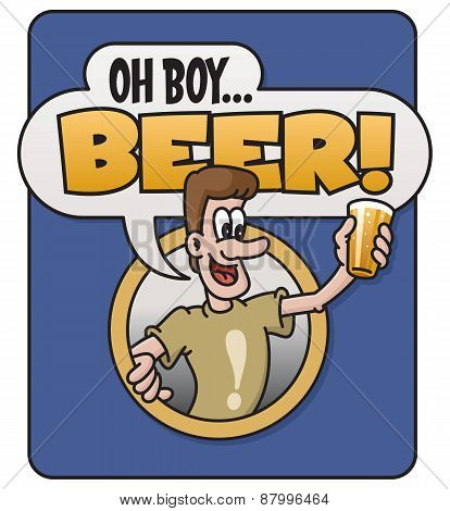 Oh Boy, Beer! vector design