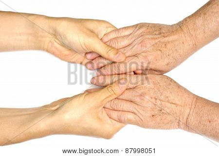 old and young holding hands isolated on white background