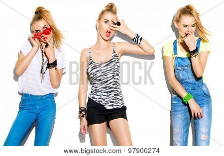 Teenage fashion stylish model girl isolated on white background. Same girl dressed in different clothes