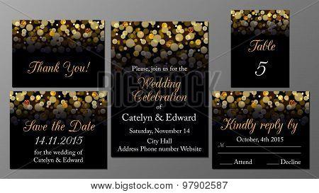 Golden wedding invitation set