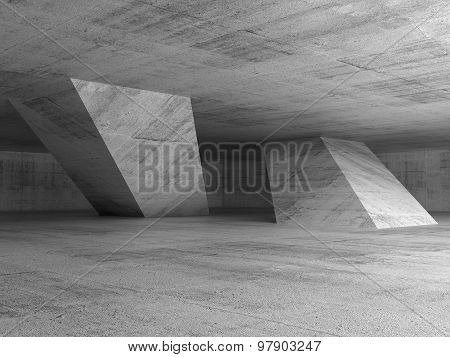 Abstract Dark Empty Concrete Room Interior