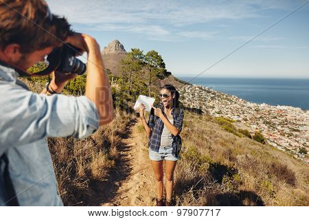 Couple Hiking - Excited Woman Posing For A Picture
