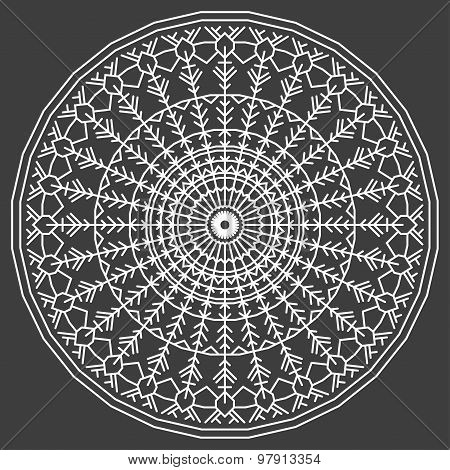 Hand-drawing Ornamental Ethnic Lace White Round. Handmade Abstract Artwork Pattern