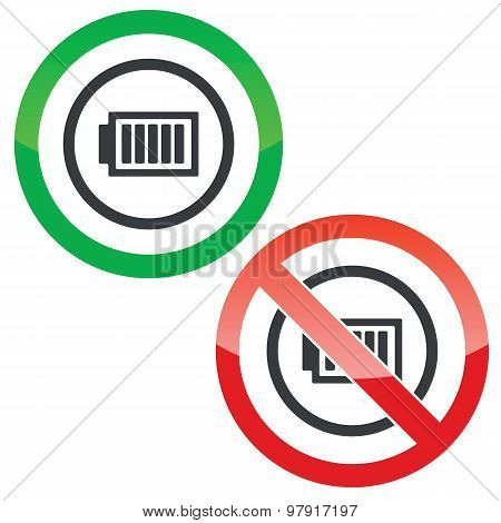 Allowed and forbidden signs with charged battery in circle, isolated on white poster