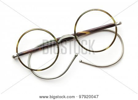 Vintage round eyeglasses isolated on white
