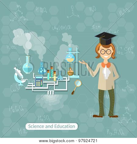Science And Education: Professor, Teacher, Researcher, Research, Chemistry Experiment, Laboratory