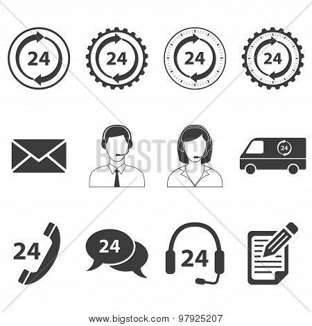 24 Hour Services Icons Set