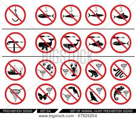 Set of animal hunt prohibition signs.  Collection of signs that prevent water and air  animal hunting. Animal hunt banned. Preserving wildlife. No using of harpoon. No catching animals with net.