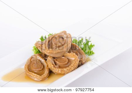 Abalones. Chinese Cuisine Abalone On Background.