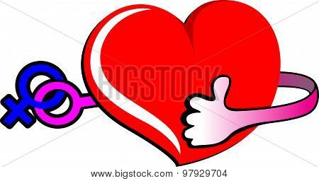 male and female sex symbol heart hand best