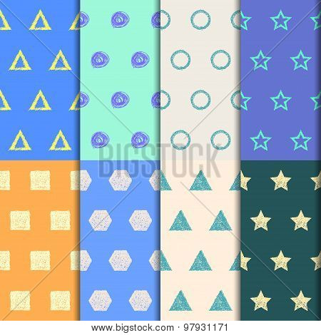 Hand-drawing Doodle Seamless Patterns Set. Abstract Geometric Cartoon Childish Backgrounds
