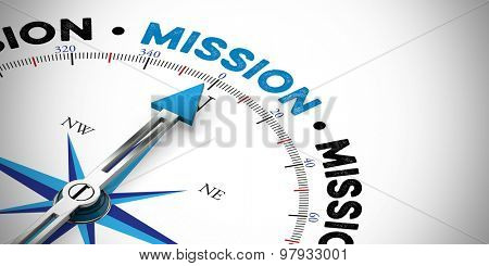 Arrow of a compass pointing to the word mission (3D Rendering)
