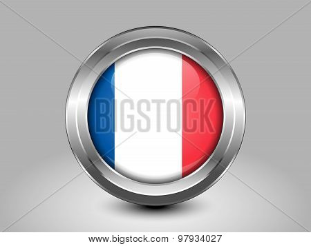 Flag Of France With Correct Proportions. Metal Round Icon
