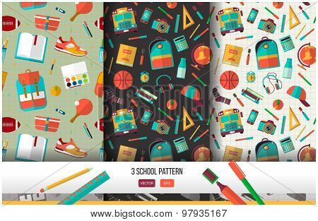 Back to school seamless pattern set.