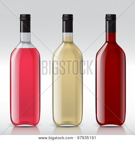 Set of transparent bottles for different wines