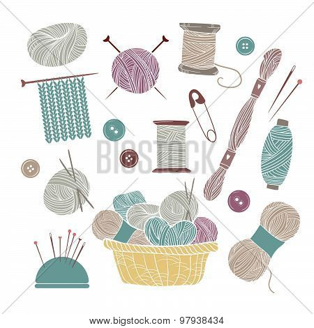 Hand Drawn Vector Vintage Illustration - Set Of Knitting And Crafts. Yarn, Pins, Buttons, Thread, Ne