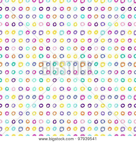 Doodle Seamless Pattern With Handmade Circles. Hand-drawing Simple Graphic Elements