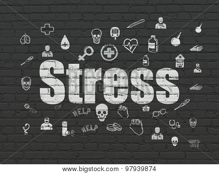 Medicine concept: Stress on wall background