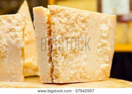 Piece Of Grana Padano Or Parmigiano Reggiano Aka Parmesan Cheese
