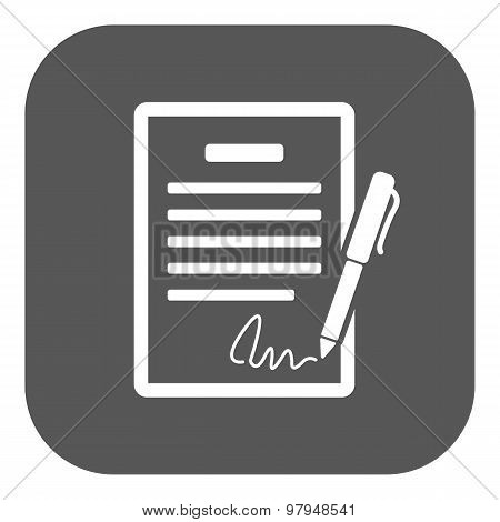 The contract icon. Agreement and signature, pact, accord, convention symbol. Flat