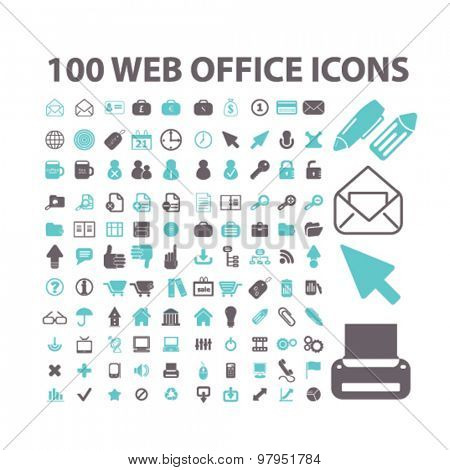 internet, web, office, document, work flat isolated icons, signs, illustrations set, vector
