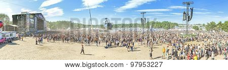 Panoramic View Of Main Stage Of The 21Th Woodstock Festival Poland.