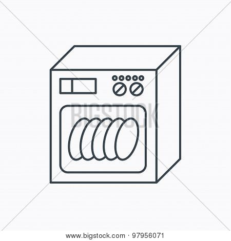 Dishwasher icon. Kitchen appliance sign. Linear outline icon on white background. Vector poster