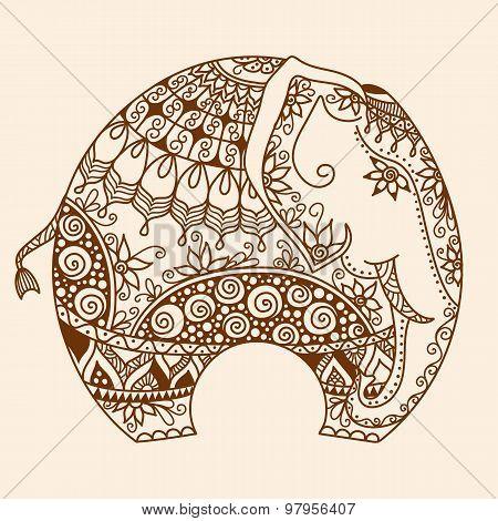 vector Henna mehndi decorated Indian Elephant
