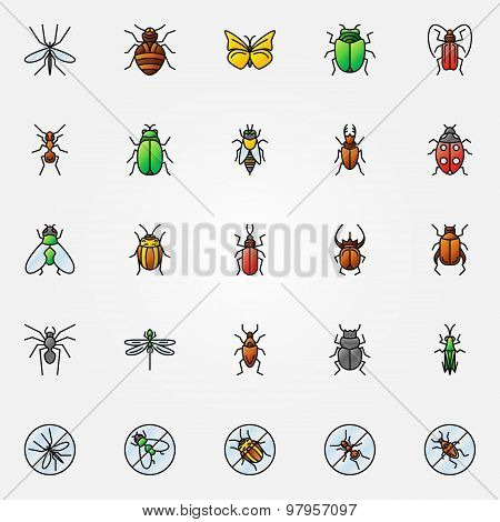 Colorful insects icons