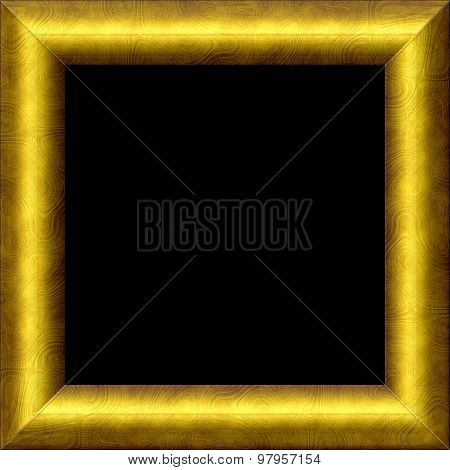 Vintage Simple Golden Metal Or Wooden Frame With Texture