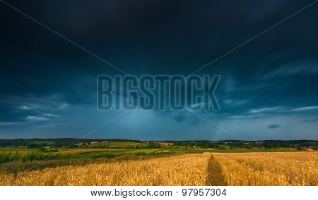 Stormy Sky Over Field