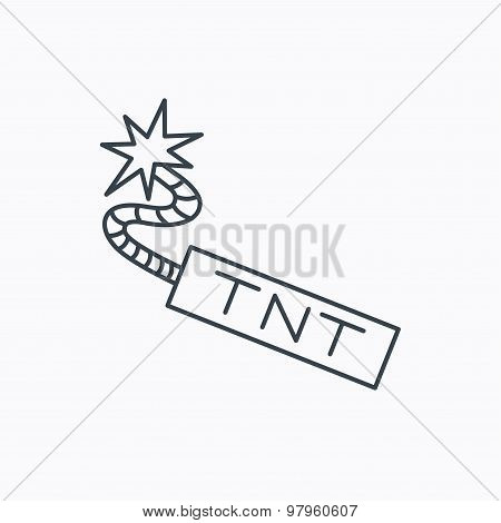 TNT dynamite icon. Bomb explosion sign. Linear outline icon on white background. Vector poster