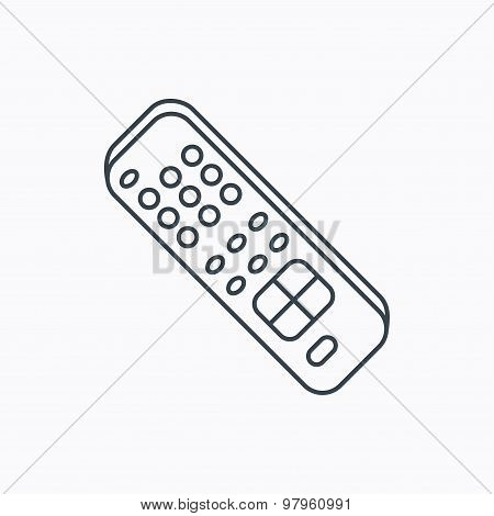 Remote control icon. TV switching channels sign. Linear outline icon on white background. Vector poster