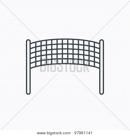 Volleyball net icon. Beach sport game sign. Linear outline icon on white background. Vector poster