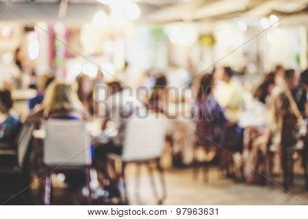Customers At Restaurant, Blur Background With Bokeh