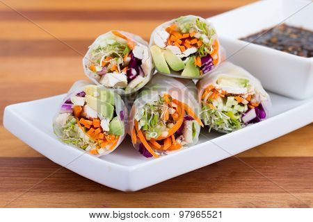 Chicken And Avocado Rice Paper Spring Rolls