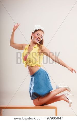Seductive Pin Up Woman Girl Dancing On Table.