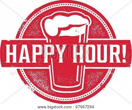 Happy Hour Beer Menu Stamp