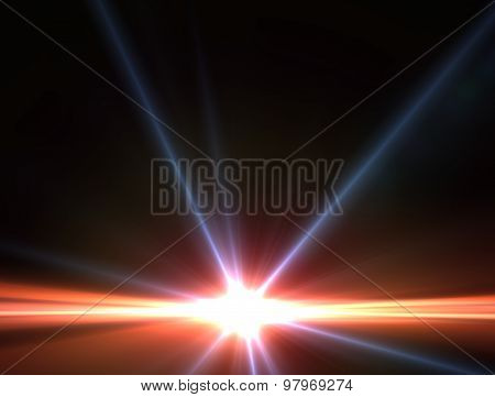 Design Template - Star, Sun With Lens Flare. Rays Background. Red And Blue Star