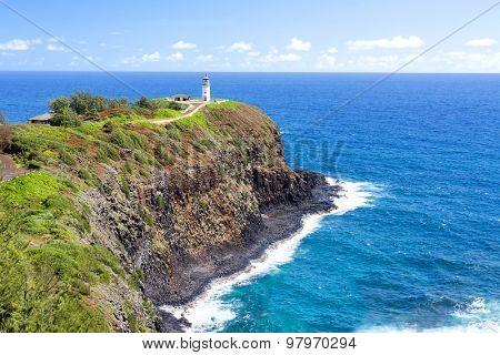 A beautiful view of the Daniel Inouye Kilauea Point lighthouse on the Hawaiian island of KauaiL