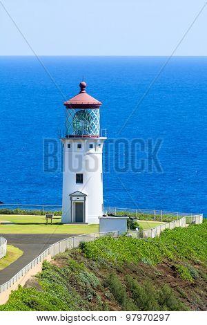 A beautiful view of the Daniel Inouye Kilauea Point lighthouse on the Hawaiian island of Kauai