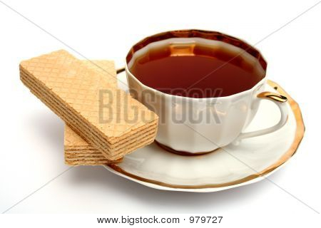 Two Wafers And Cup Of Tea