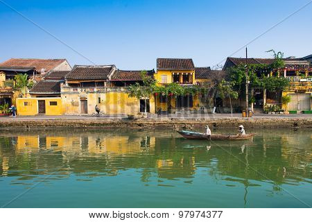 Hoai river in ancient Hoian town in Hoian, Vietnam