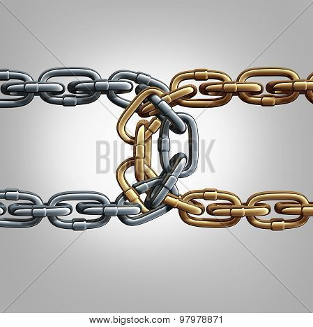 Unity chain connected concept as two different groups of chains tied and linked together as an unbreakable conection as a trust and faith metaphor for dependence and reliance on a trusted partner for support and strength. poster