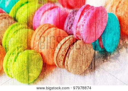 Close Up Colorful Macarons Dessert With Vintage Pastel Tones Made Dept Of Field.abstract